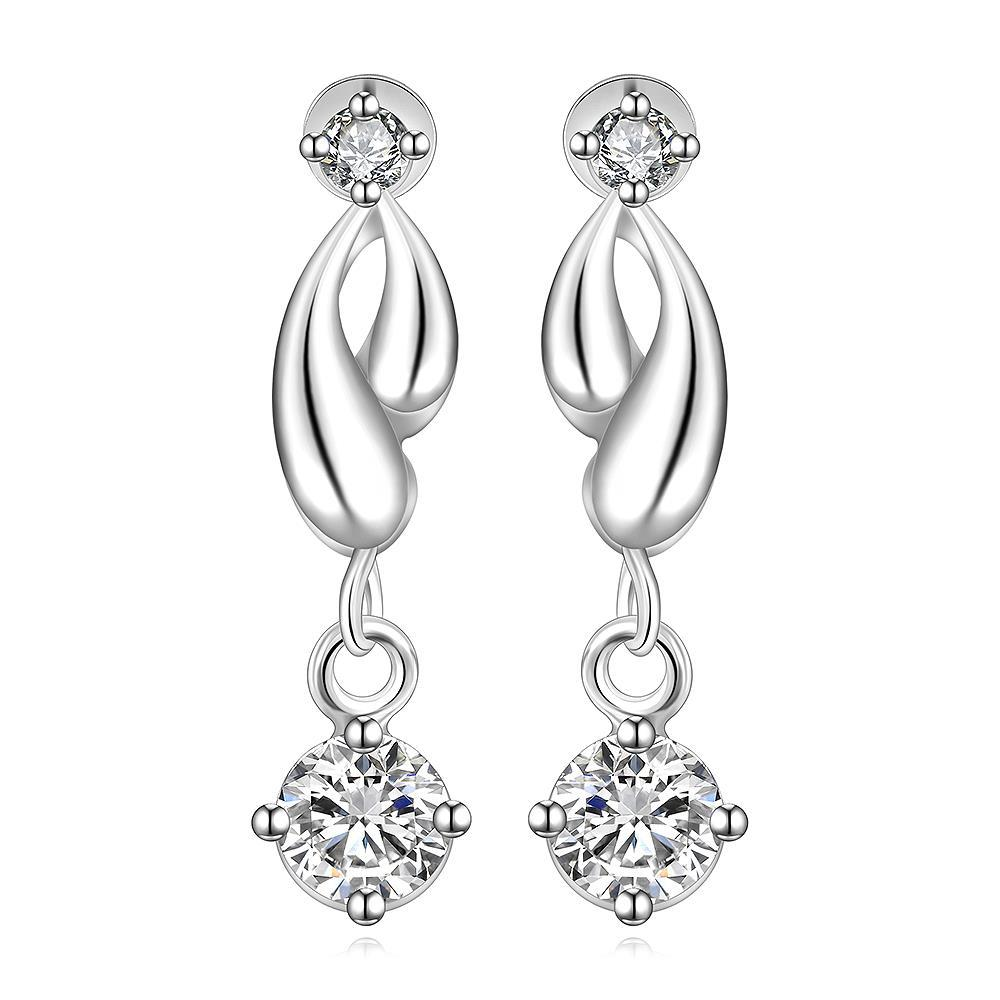 Vienna Jewelry Sterling Silver Abstract Curved Drop Lining Earring