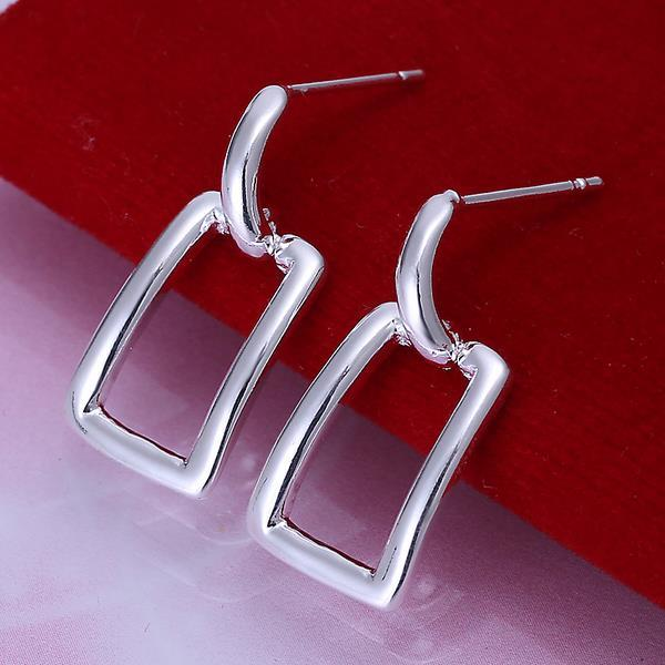 Vienna Jewelry Sterling Silver Hollow Rectangle Earring