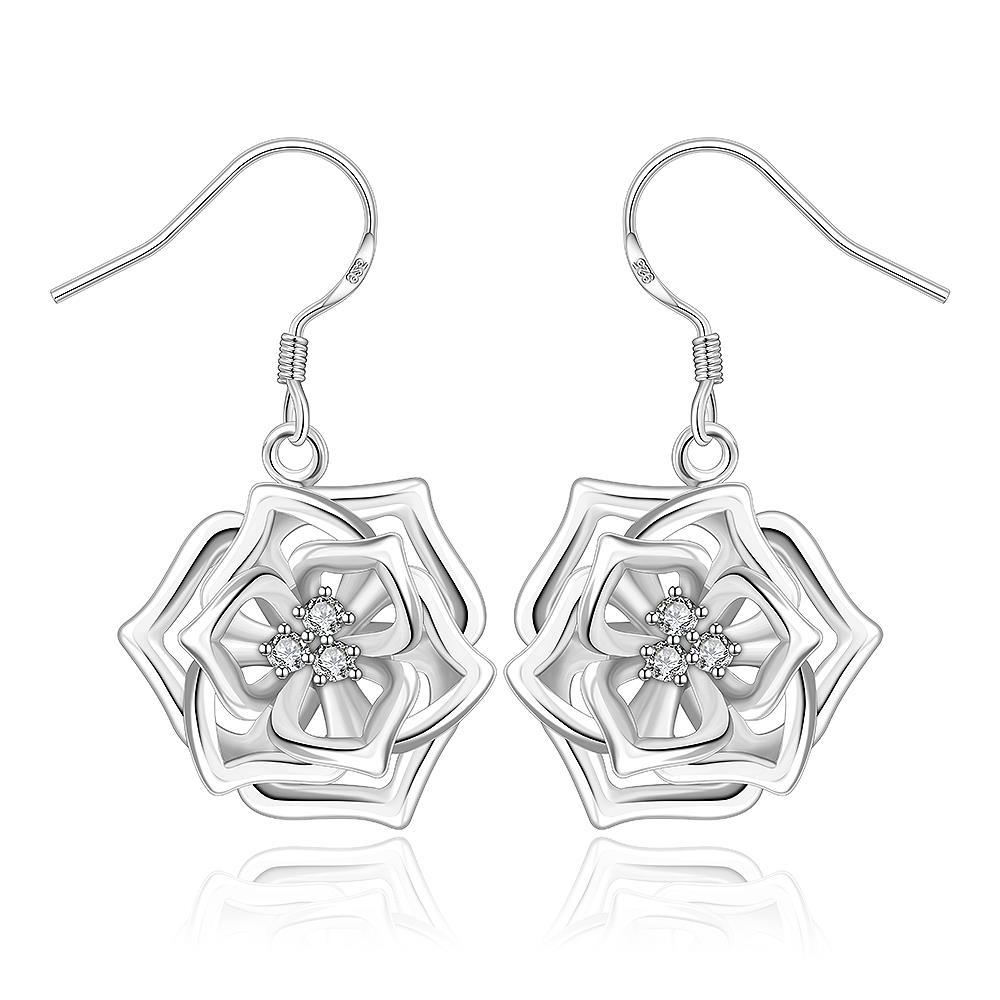 Vienna Jewelry Sterling Silver Blossoming Floral Drop Earring