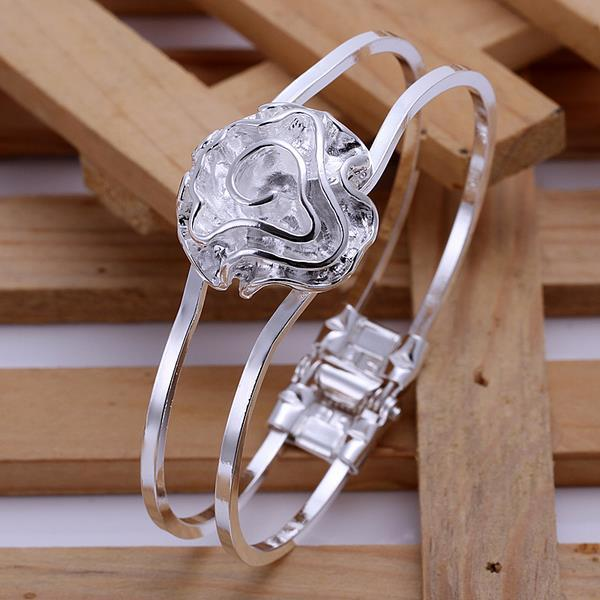 Vienna Jewelry Sterling Silver Blossoming Floral Modern Bangle