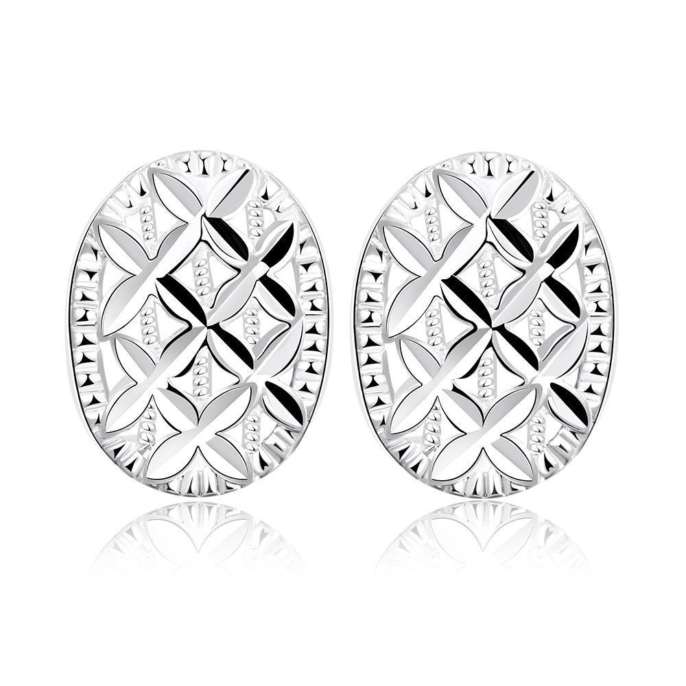 Vienna Jewelry Sterling Silver Criss Cross Pattern Stud Earring