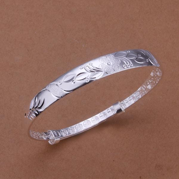 Vienna Jewelry Sterling Silver Orchid Inprint Open Bangle