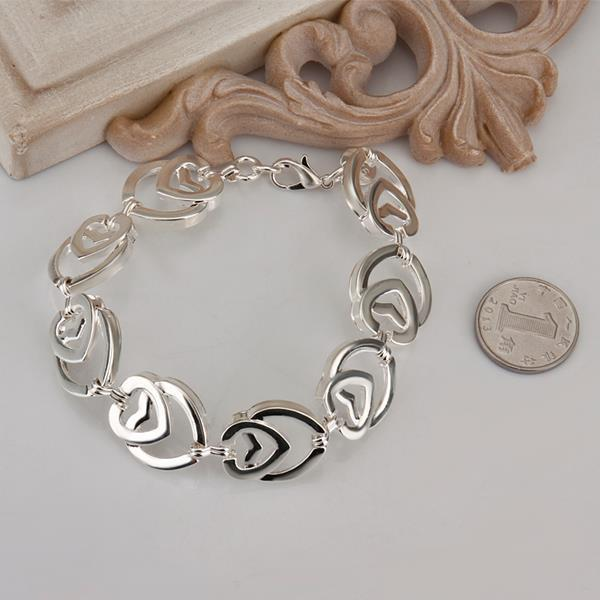 Vienna Jewelry Sterling Silver Multi Heart Shaped Connected Bracelet