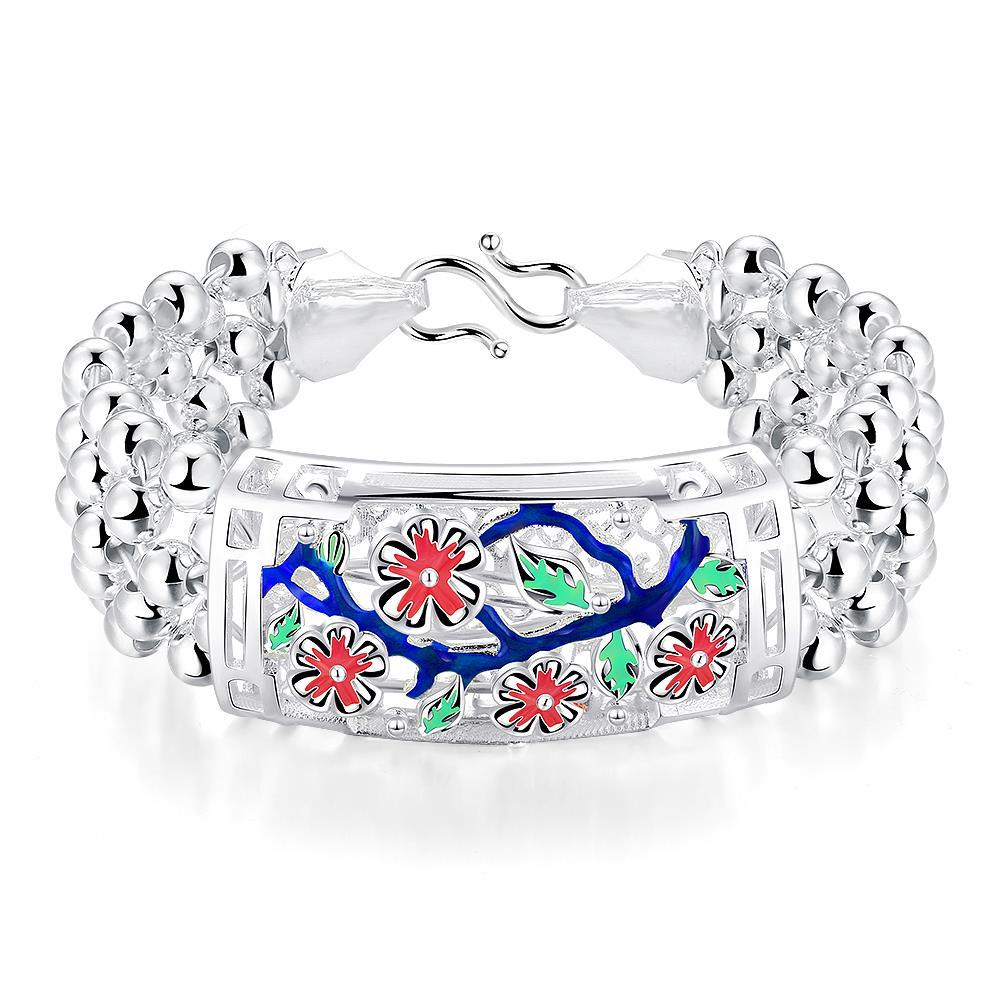 Vienna Jewelry Sterling Silver Ruby Floral Orchid Bracelet