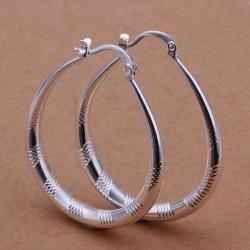 Vienna Jewelry Sterling Silver Line Cutting Hoop Earring - Thumbnail 0