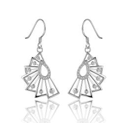 Vienna Jewelry Sterling Silver Swirl Abstract Curved Drop Earring - Thumbnail 0