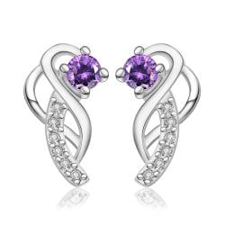 Vienna Jewelry Sterling Silver Abstract Curved Pendant with Purple Citrine Covering Earring - Thumbnail 0