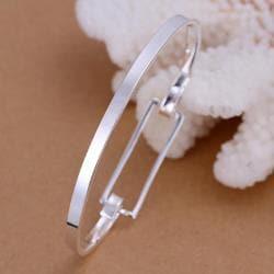 Sterling Silver Petite Rectangle Shaped Open Bangle - Thumbnail 0