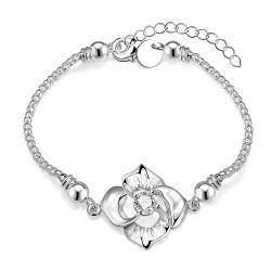 Vienna Jewelry Sterling Silver Large Laser Cut Floral Bracelet - Thumbnail 0