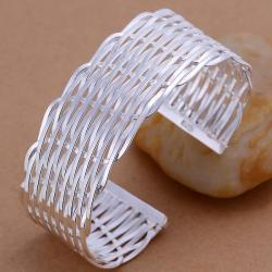 Sterling Silver Intertwined Modern Bangle - Thumbnail 0