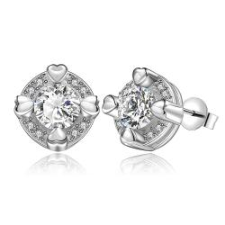 Vienna Jewelry Sterling Silver Crystal Heart Surronding Stud Earring - Thumbnail 0