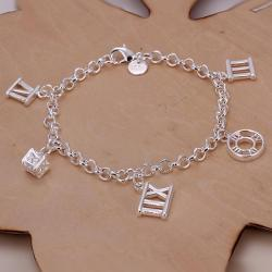 Vienna Jewelry Sterling Silver Roman Numberals Bracelet - Thumbnail 0