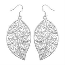 Vienna Jewelry Sterling Silver Laser Cut Filigree Leaf Earring - Thumbnail 0