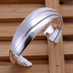 Sterling Silver Curved Classic Open Bangle - Thumbnail 0