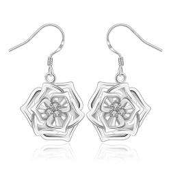 Vienna Jewelry Sterling Silver Blossoming Floral Drop Earring - Thumbnail 0