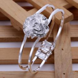 Sterling Silver Blossoming Floral Modern Bangle - Thumbnail 0