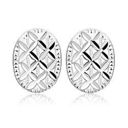 Vienna Jewelry Sterling Silver Criss Cross Pattern Stud Earring - Thumbnail 0