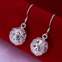 Vienna Jewelry Sterling Silver Laser Cut Ball Drop Earring - Thumbnail 0