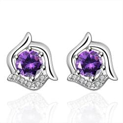 Vienna Jewelry Sterling Silver Curved Floral Purple Citrine Stud Earring - Thumbnail 0
