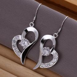 Vienna Jewelry Sterling Silver Curved Petite Heart Earring - Thumbnail 0
