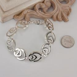 Vienna Jewelry Sterling Silver Multi Heart Shaped Connected Bracelet - Thumbnail 0