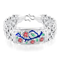 Vienna Jewelry Sterling Silver Ruby Floral Orchid Bracelet - Thumbnail 0