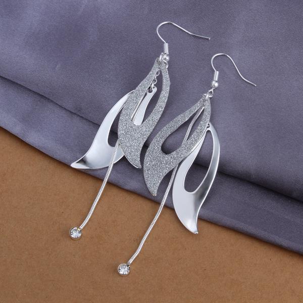 Vienna Jewelry Sterling Silver Butterfly Wings Drop Earring