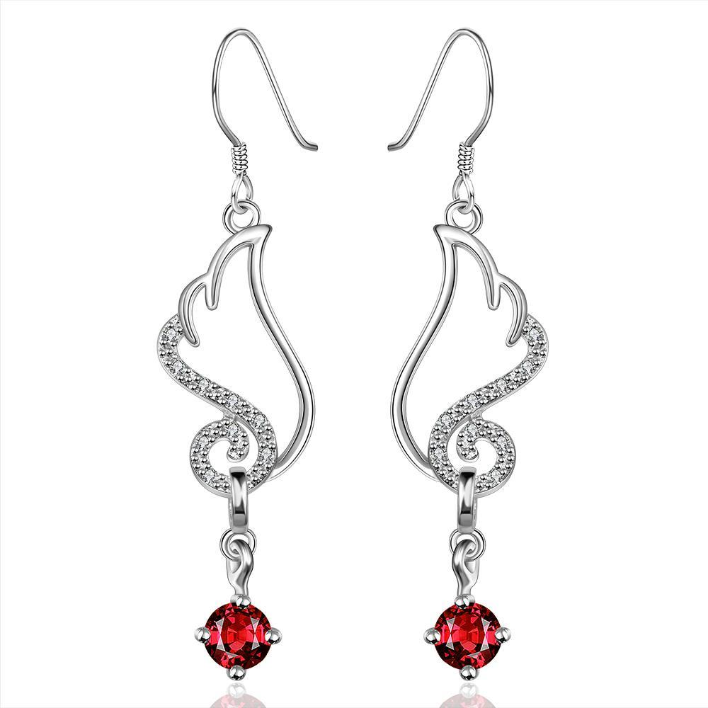 Vienna Jewelry Sterling Silver Butterfly Ruby Wings Drop Earring