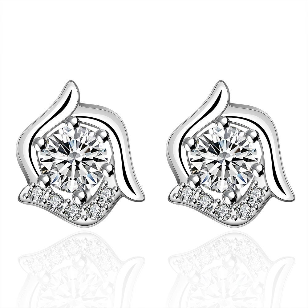 Vienna Jewelry Sterling Silver Curved Floral Stone Stud Earring