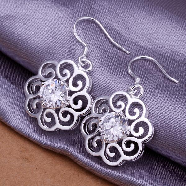 Vienna Jewelry Sterling Silver Laser Cut Floral Stud with Crystal Stones