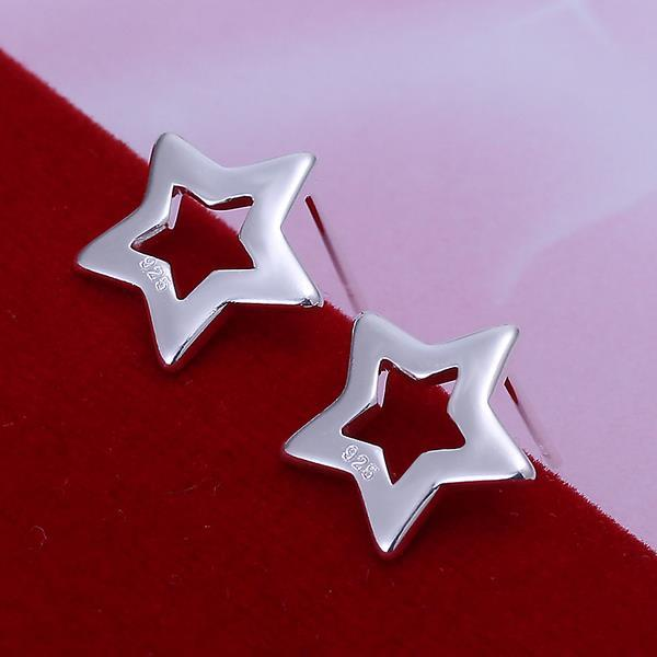 Vienna Jewelry Sterling Silver Hollow Starts Stud Earring