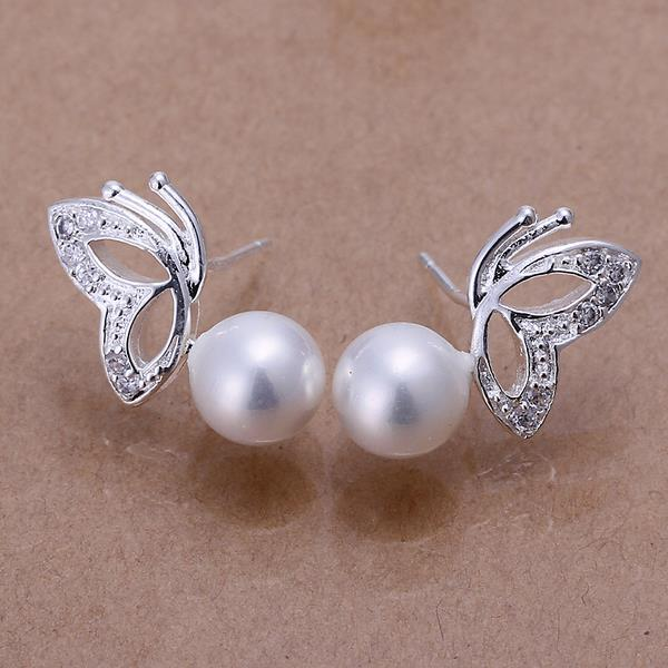 Vienna Jewelry Sterling Silver Wings & Pearl Earring
