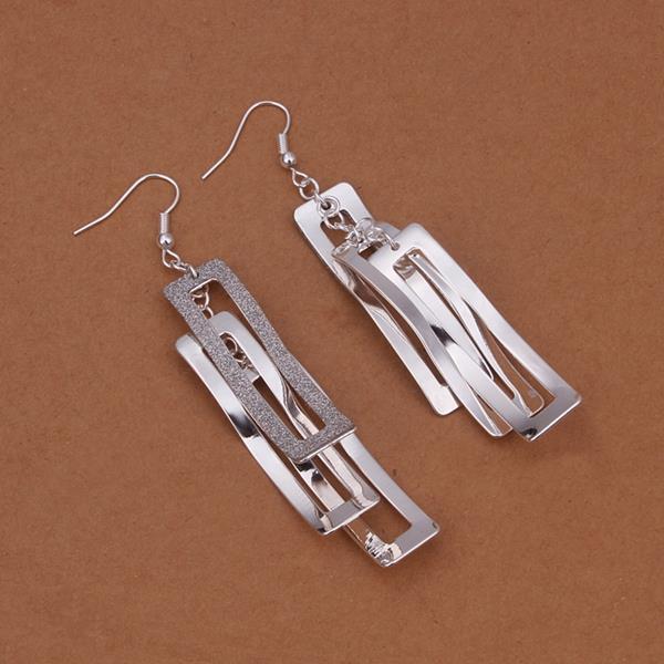 Vienna Jewelry Sterling Silver Geometric Drop Earring
