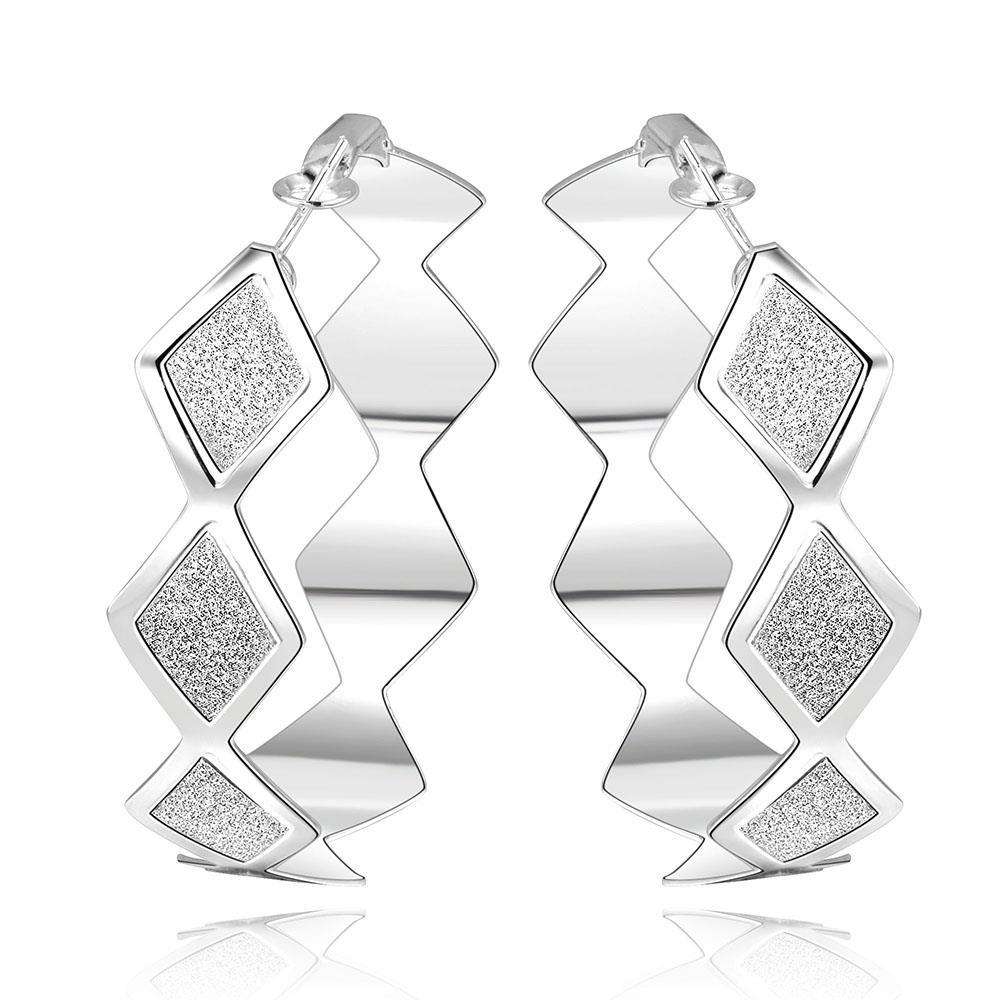 Vienna Jewelry Sterling Silver Square Shaped Design Hoops