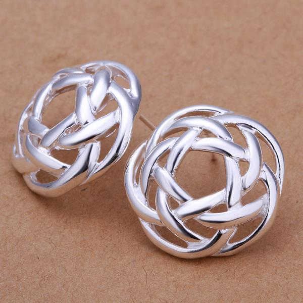 Vienna Jewelry Sterling Silver Abstract Circular Stud Earring