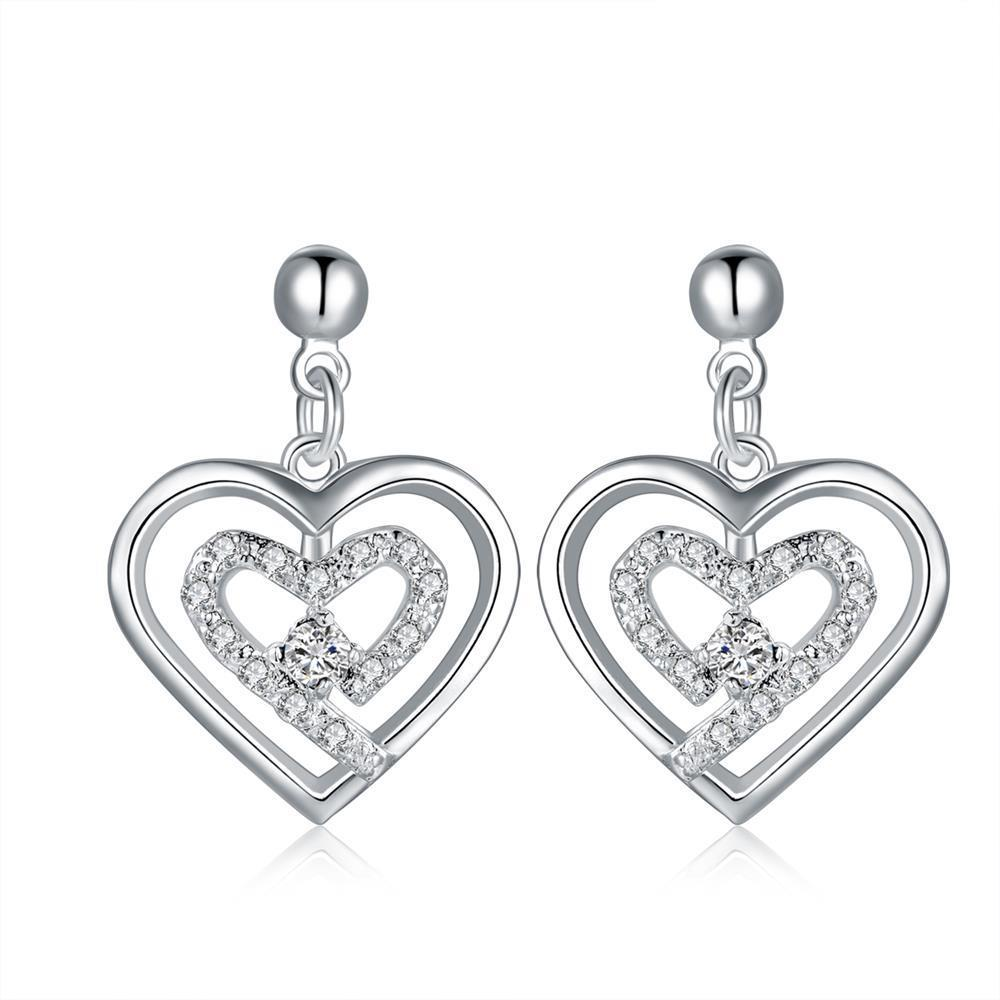 Vienna Jewelry Sterling Silver Stones & Crystal Stone Heart Earring