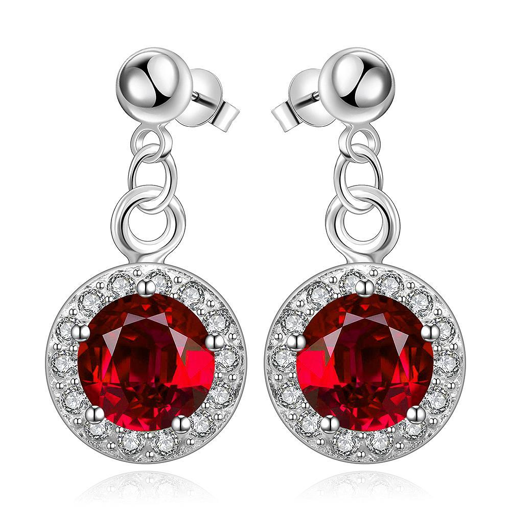 Vienna Jewelry Sterling Silver Circular Ruby Pendant Drop Earring
