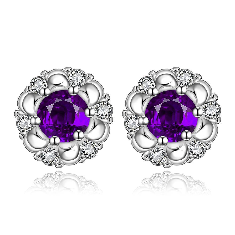 Vienna Jewelry Sterling Silver Purple Citrine Gem Spiral Design Stud Earring