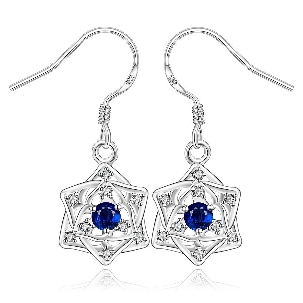 Vienna Jewelry Sterling Silver Sapphire Star Pendant Drop Earring