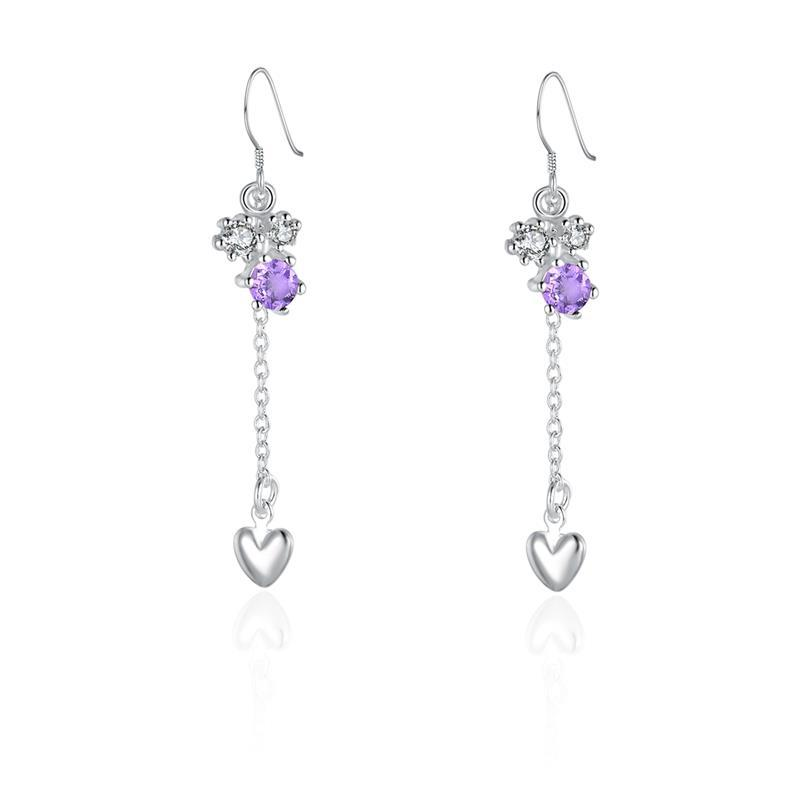 Vienna Jewelry Sterling Silver Floral Orchid Purple Citrine Drop Heart Earring