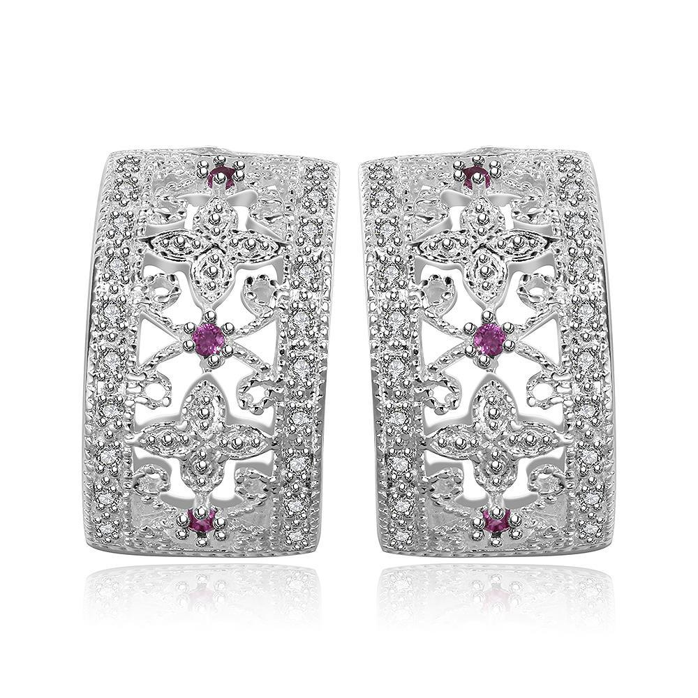 Vienna Jewelry Sterling Silver Rectangle Stones Crystal Inlay Earring