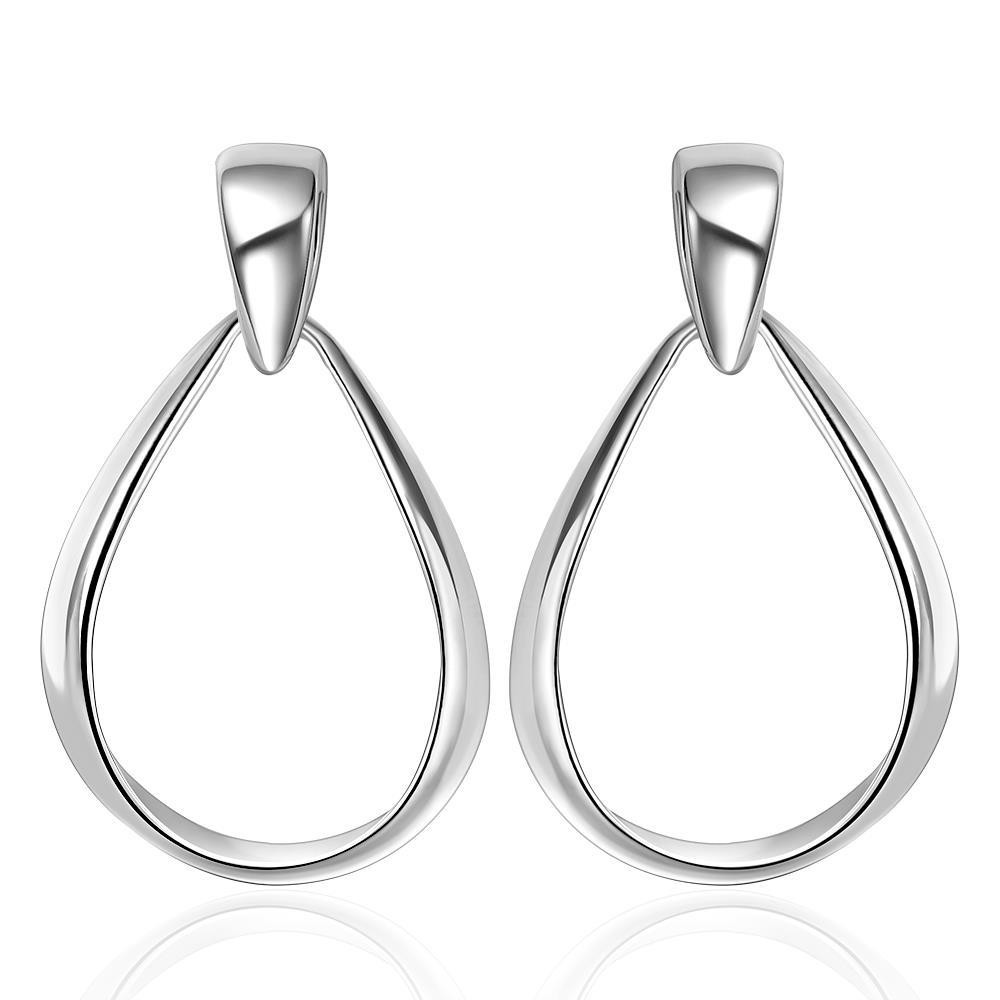 Vienna Jewelry Sterling Silver Modern Thin Lay Hoop Earring
