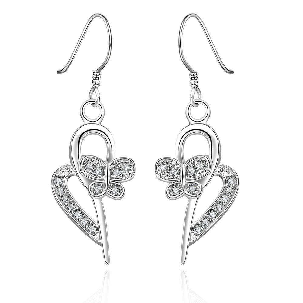Vienna Jewelry Sterling Silver Curved Heart Pendant Drop Earring