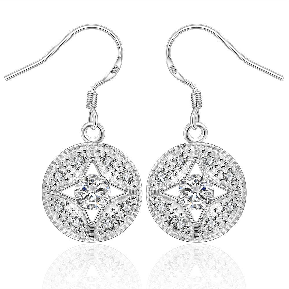 Vienna Jewelry Sterling Silver Circular Crystal Pendant Drop Earring