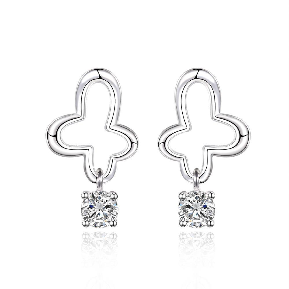 Vienna Jewelry Sterling Silver Curved Clover Drop Earring