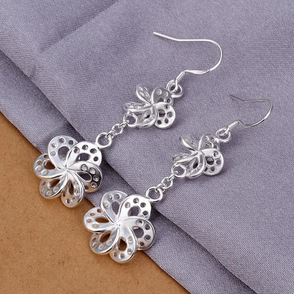 Vienna Jewelry Sterling Silver Laser Cut Rose Petals Earring