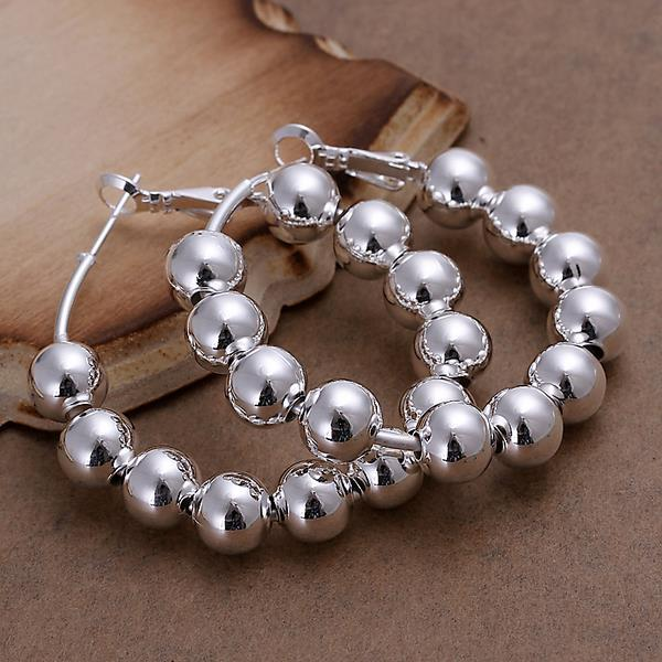 Vienna Jewelry Sterling Silver Multi-Beads Hoops