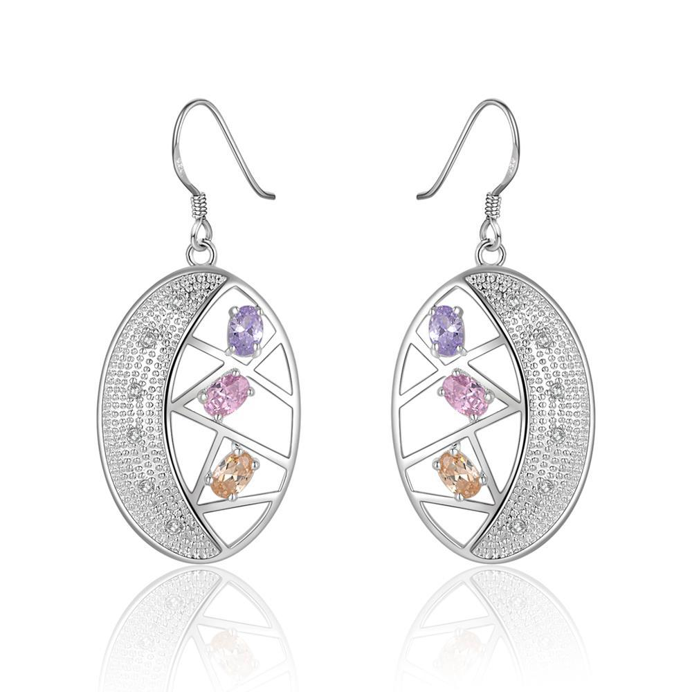Vienna Jewelry Sterling Silver Multi Colored Stones Hoop Earring