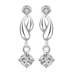 Vienna Jewelry Sterling Silver Abstract Curved Drop Lining Earring - Thumbnail 0