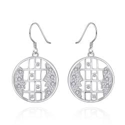 Vienna Jewelry Sterling Silver Bar Lining Stones Drop Earring - Thumbnail 0